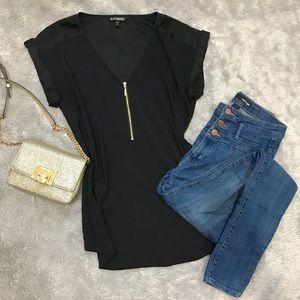 EXPRESS Zipper Blouse, Short Sleeve, Black/Gold